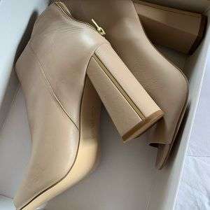 Calvin Klein open toe ankle boots with back zipper